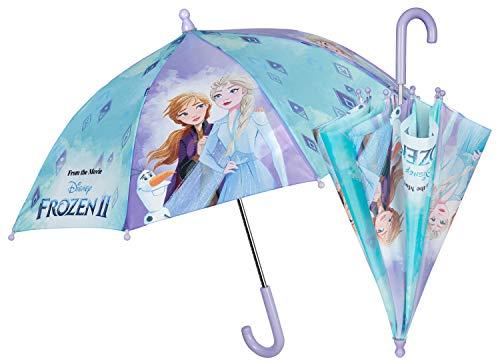 POS 30843088 - Stockschirm mit Disney Frozen II Motiv, Regenschirm für Mädchen, Durchmesser ca. 66 cm, manuelle Sicherheitsöffnung und Fiberglasgestell, idealer Begleiter für regnerische Tage