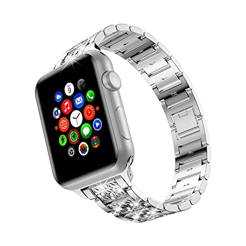 wootfairy Bing Diamond Apple Watch Bands for Women, Compatible with Apple Watch Band 38mm 40mm, Sparkle Metal Replacement Wristband Strap for Apple Watch Band Series SE/6/5/4/3/2/1 Silver, 38mm/40mm