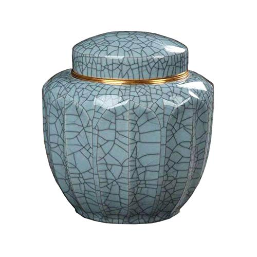 WUBINGRIZADIAN Kleine Urne für Erwachsene, Bequerung, schöne Blaue Musterhund- und Katzen-Andenken, Lagerung von Überresten zu Hause oder zu Hause oder zu Begräbnisheim