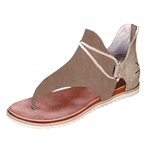 Best Buy! Padaleks Women Summer Flat Sandals Comfy Clip Toe Flip Flops Patchwork Roman Bohemian Casu...