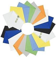 Panni per pulire in Microfibra - 18 Panni Colorati e 2 Panni ECO-FUSED - Ideali per pulire Occhiali, Obiettivi, Lenti, iPad, Tablet, Telefoni, iPhone, Telefoni Android, Schermi LCD e altre Superfici