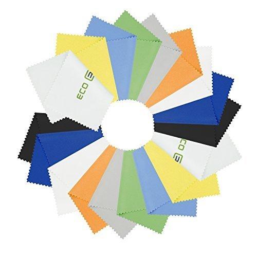 Paños de Limpieza de Microfibra Eco-Fused - Paquete de 18 - Para Limpiar Anteojos, Lentes de Cámara, iPad, Tablets, Phones, iPhone, Teléfonos Android, Laptops, Pantallas LCD, Platería y Superficies Delicadas
