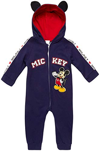 Disney Baby Boys' Pajamas - One Piece Plush Long Sleeve Hooded Sleep and Play Onesie Coveralls, Mickey Navy, Size 24 Months