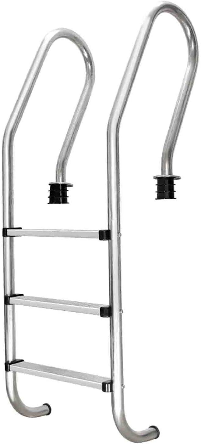Piscinas desmontables Escalera para piscina, pedal de piscina de acero inoxidable de 3 escalones con alfombrilla antideslizante, escalera para piscina para interiores y exteriores (50 x 60 x 161 cm)