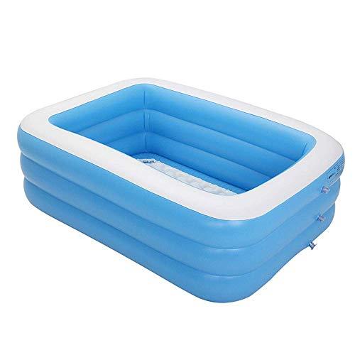ZWMM Aufblasbare Pools,Planschbecken Großer aufblasbarer Kinderpool Übergroßer Familienpool Verdicktes Innen-Eltern-Kind-Heimkissen Pool Marine Ball, Blau-460 * 100 cm