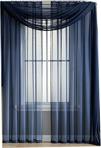 Ruthie's Textile 2-Piece Sheer Panel with 2inch Rod Pocket - Window Curtains 54-inch Width X 84-inch Length (Navy)