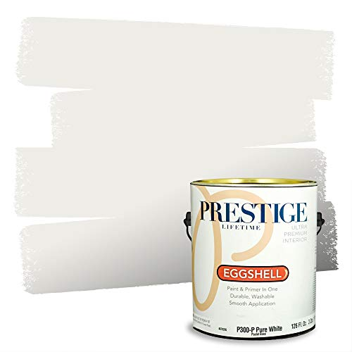 Prestige Paints Interior Paint and Primer In One, 1-Gallon, Eggshell, Comparable Match of Sherwin Williams* Pure White*
