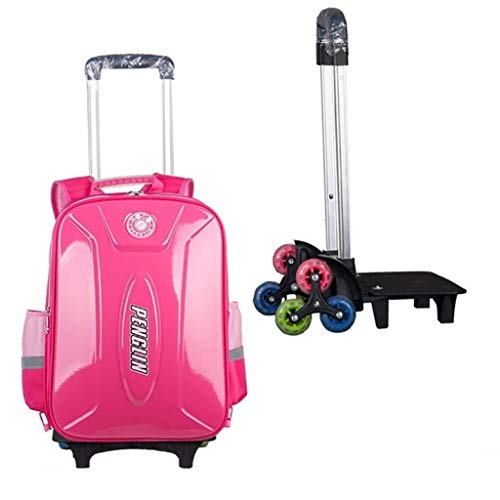 Kids Trolley Backpack - Waterproof School Bag Students Backpack with Wheels Primary Boy Girl 6 Rounds of High Feet Climbing Stairs (Color : A)