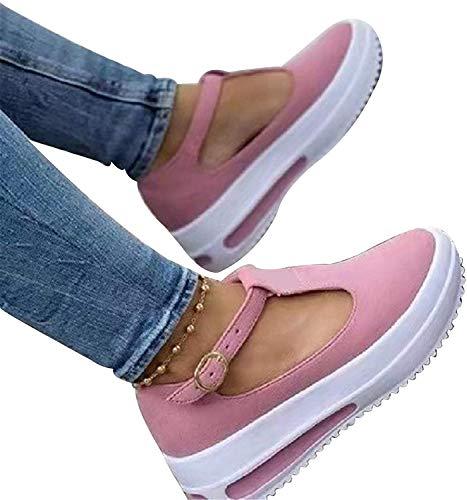 HJXY Zapatos de Plataforma con Correa en T para Mujer, 2021 Primavera Retro Mocasines con Cabeza Redonda Cuñas Sandalias Casual Verano Alpargatas con Punta Cerrada