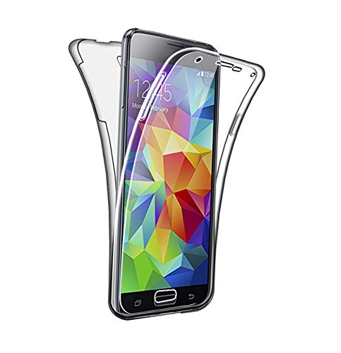 SDTEK Coque pour Samsung Galaxy S5 / S5 Neo 360 Degres Protection Integral [Transparente Gel] Full Body Silicone Case Cover Clair pour Samsung Galaxy S5 / S5 Neo