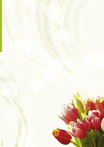 Briefpapier Tulpenstrauß, 50 Blatt DIN A4, 90 g/m², DP891, Schreibpapier, Geburtstag, Einladung, Brief, Jubiläum, Danke, Blumen, Brief schreiben, Liebesbrief