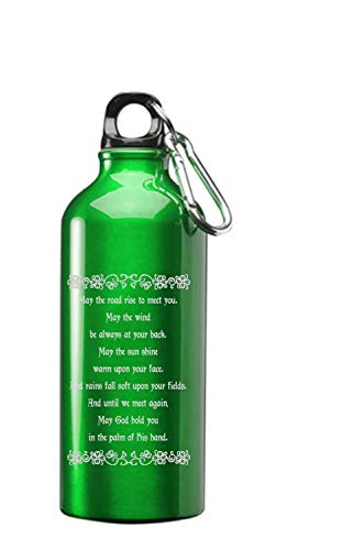 Hat Shark Irish Blessing Prayer May The Road Rise Up Green Celtic Knot 3D Laser Engraved 17 oz Stainless Steel Water Bottle Green