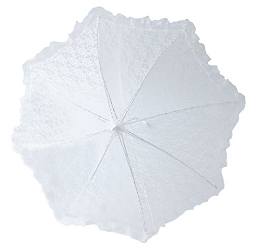 "24"" Lace Baby or Bridal Shower Parasol Umbrella White Parasol"
