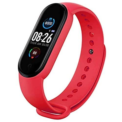 Rastreador de actividad, pulsera inteligente impermeable con monitor de ritmo cardíaco y sueño, contador de pasos, 11 modos deportivos (rojo)