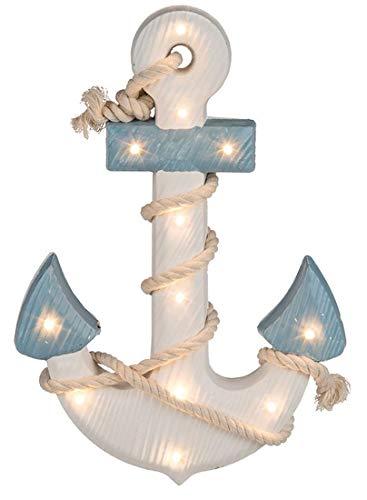 CBK-MS. Maritime Shabby Dekoration Holz Anker blau/Weiss mit Seil und LED Beleuchtung 12 LEDs warmweiss