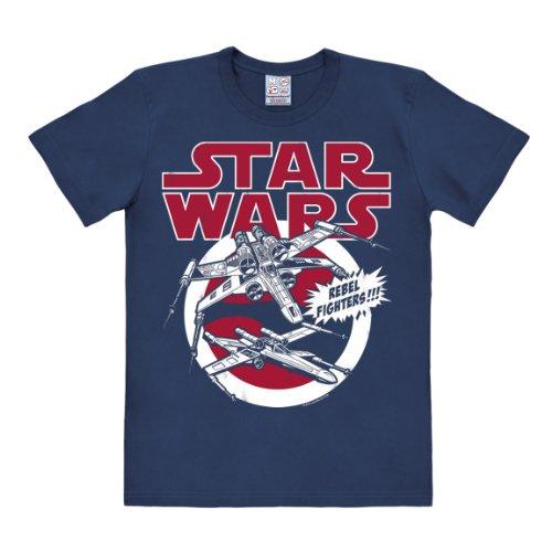 Logoshirt Camiseta ala-X - Camiseta La Guerra de Las Galaxias - Star Wars - X-Wings - Caza Estelar - Camiseta con Cuello Redondo Azul Oscuro - Diseño Original con Licencia, Talla L