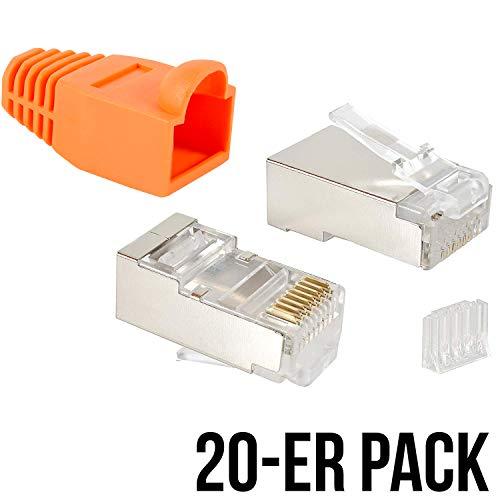VESVITO 20er Pack RJ45 Crimpstecker CAT 6 STP geschirmt mit Einfädelhilfe und Knickschutz in Orange Steckverbinder, Netzwerkstecker, Stecker für Patchkabel, Netzwerk LAN Kabel, Netzwerkkabel