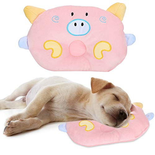 Chanme Almohada de Cama para Mascotas, Almohada para Mascotas Almohadas para Dormir Encantadoras para Perros, Tres Colores duraderos para Proteger la Columna Cervical(Pink)