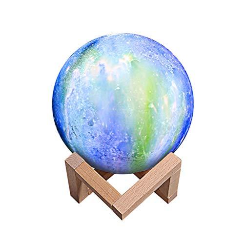 Yangangjin Maanlamp, maanlamp, nachttafellamp, 3D-maan, kunst, maanlamp, 3 kleuren, decoratieve lamp, draagbaar, dimbaar, sfeerverlichting, USB-stopcontact voor cadeau/kerst