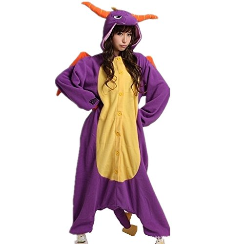 Kenmont Tier Schlafanzug Cosplay Kostüm Einhorn Pyjama Tierkostüme Jumpsuits Erwachsene Nachthemden Overall Plüschtier (XL, Purple Dinosaur)