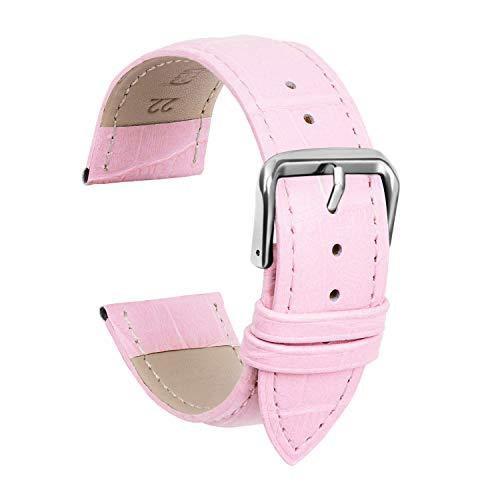 ULLCHRO Unisex Leder Armband mit Edelstahl Silberne Schnalle 19mm Rosa