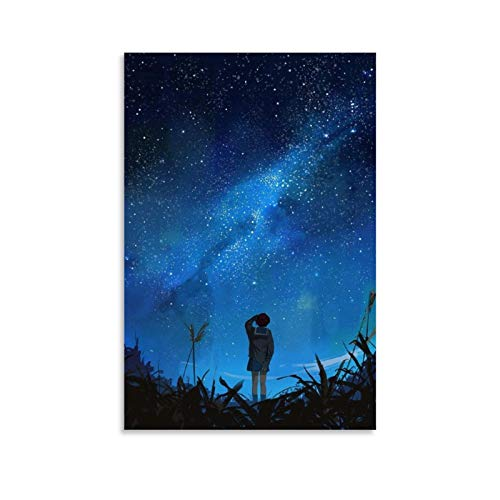 Aesthetic Anime Night Sky Poster auf Leinwand, Kunst-Poster und Wand-Kunstdruck, modernes Familienschlafzimmer, 30 x 45 cm