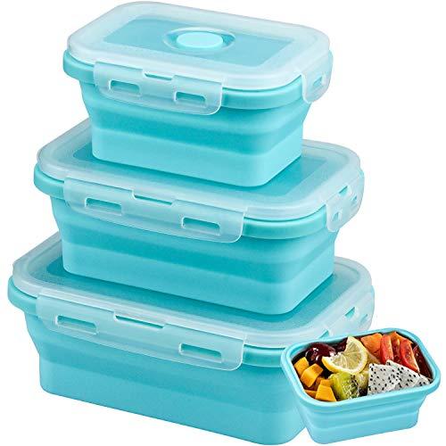 Demason 3 Pcs Fiambrera de Silicona, Recipientes Microondas(Azul), Tupper Plegable, Fiambrera para Alimentos Frutas Diseñado para Viajes, Almacenamiento de Alimentos para Hornos Refrigeradores