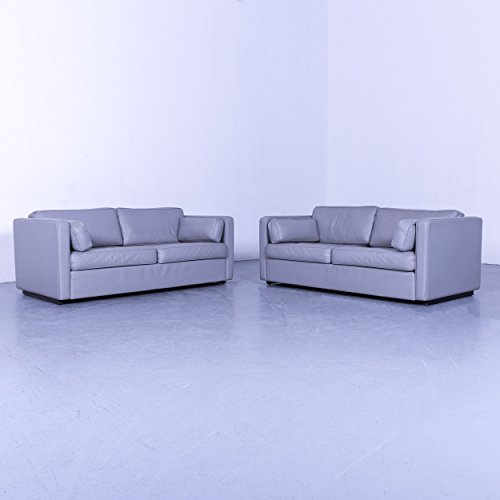 Walter Knoll Designer Leder Sofa Garnitur Grau Zweisitzer Couch Echtleder #5742