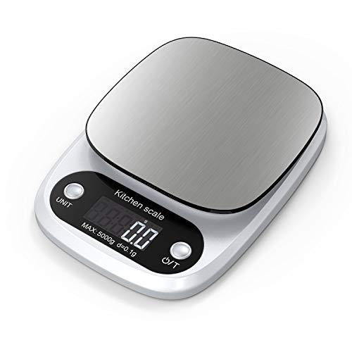 Lefun Küchenwaage Digital, Digitale Küchenwaage mit großer Präzision 0.1g/Max 5kg Elektrische Waage Professionelle Kochwaage Mit LCD Display Und Tara Function inkl. Batterien (Silber-0)