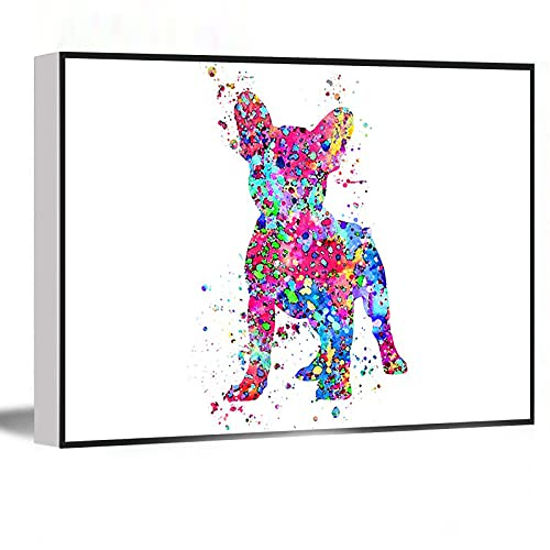BOHO WALL ART,Wall Art For Bedroom,Rustic Farmhouse Decor,French Bulldog French Bulldog art Frenchie watercolor art print dog print home decor watercolor dog ,8''x12'' Framed Modern Canvas Wall Art,