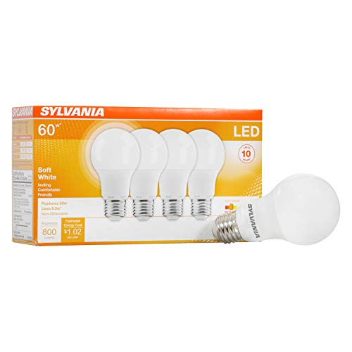 SYLVANIA LED A19 Light Bulb, 60W Equivalent Efficient 8.5W Medium Base, 2700K Soft White, 4 pack