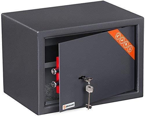 Brihard Family Tresor Safe mit Schlüssel-Schloss, 25x35x25cm (HxWxD), Titan Grau