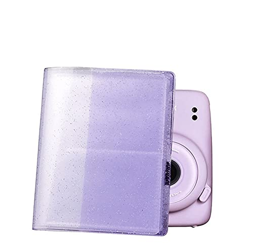 Álbum de 64 bolsillos para Fujifilm Instax Instant Mini 11 9 8 7s Mini Películas 3 pulgadas Papel fotográfico (Color: Púrpura)