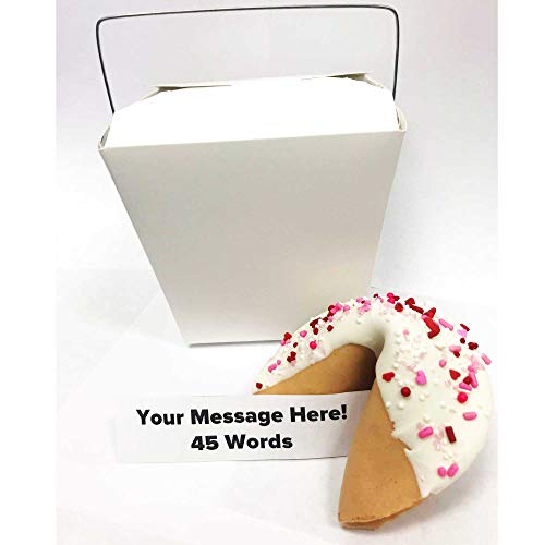 Jumbo Custom Fortune Cookie | Personalize Your Message | Hand Dipped in Chocolate | 'Lovey Dovey' Sprinkles