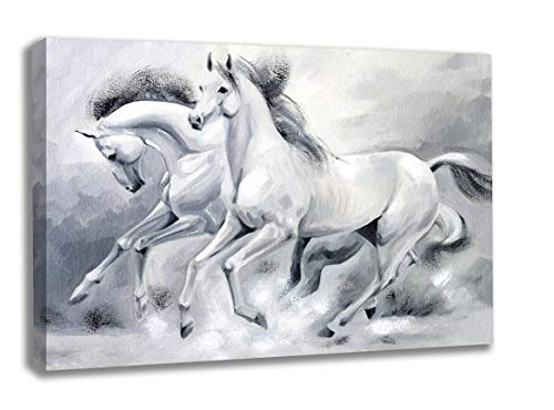 INTALENCE ART Running Horses Artwork Grey, Black and White Wall Decor, 36x48in Animal Wall Art Painting Premium Print on Canvas, Modern Framed Home and Office Picture Decoration Easy and Ready to Hang