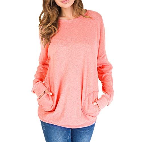Jumpers Womens Long Sleeves Sweatshirts Tops Autumn Winter Solid Color Pullover Comfy Elegant Tunic Blouse with Pocket Classic Sweatshirt Loose Crew Neck Basic T-Shirt Top 3XL