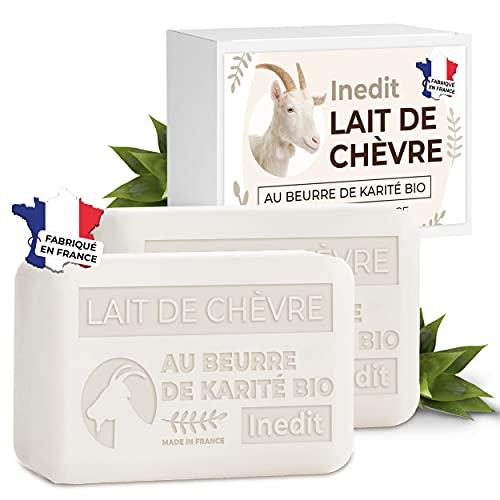 Savon Lait De Chevre Savon Visage - Produit Naturel Au beurre De Karité - Masque Peau Sensible - 2 SAVONS FRANÇAIS (200g)