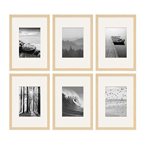 PHOTOLINI 6er Set Poster-Bilderrahmen 21x30 cm/DIN A4 mit Passepartout 13x18 cm Modern Natur aus MDF mit Acrylglas | Posterrahmen | Wechselrahmen