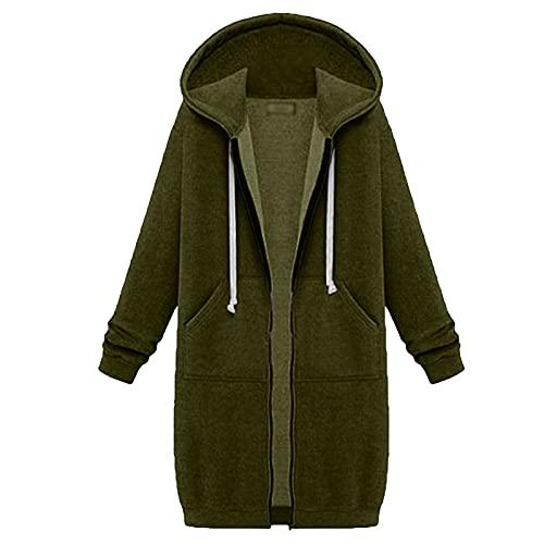 Suéter largo espesado de moda pequeño fresco manga larga cremallera sudadera con capucha suelta con bolsillos sudadera abrigo, verde, L