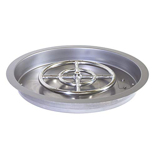 Celestial Fire Glass 19' Stainless Steel Round Drop-in Fire Pit Pan w/ 12' Burner