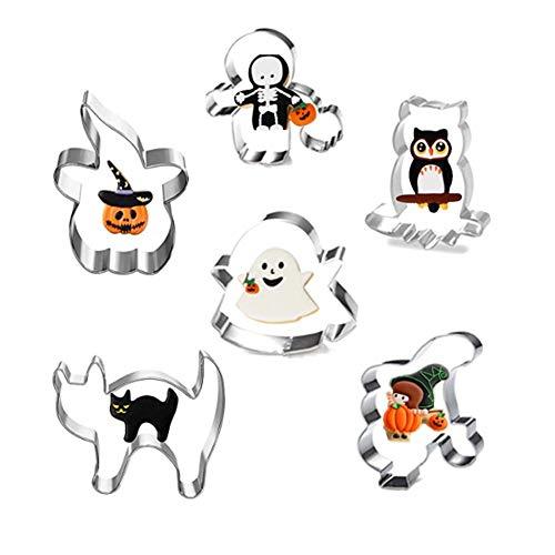 Juego de cortadores de galletas de Halloween – 6 moldes de acero inoxidable para hacer galletas con forma de calabaza, fantasma, esqueleto, niño, gato, búho, sombrero de calabaza
