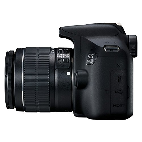 Canon EOS 2000D - Cmara rflex de 24.1 MP (CMOS, Escena inteligente automtica, 9 puntos AF, filtros creativos, EOS Movie, Full HD LCD 3', WiFi/NFC) negro - Kit con objetivo EF-S 18-55mm IS II