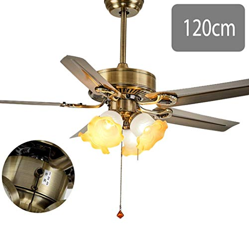 MoiHL Ventilador de Techo, luz, Cuerda, Mano, Sala de Estar, Dormitorio, Comedor, Velocidad Ajustable (Color: D),Segundo