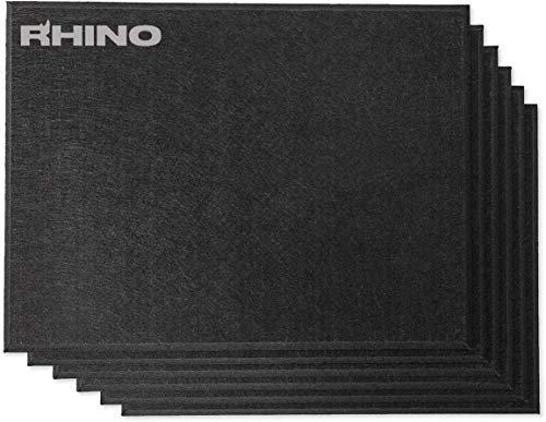 Rhino Acoustic Absorption Panel 16' x 12' x 0.4' NRC Sound Proof Padding for Echo Bass Isolation Matte Black 6 Pieces Beveled Edge for Wall Decoration and Acoustic Treatment