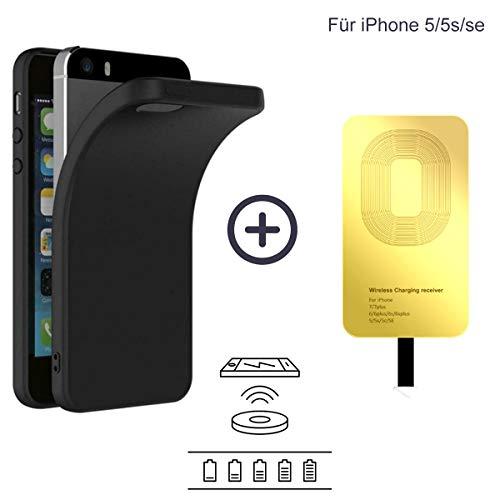GalMags Qi Empfänger Hülle Induktive Ladehülle Kompatibel mit iPhone SE/5S/5, Handy Case Handyhülle Schwarz und TI Chip Wireless Charger Receiver Induktions Ladegerät Empfänger, Kabelloses Ladekit