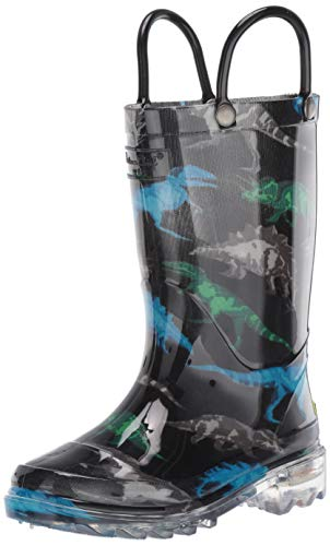 Western Chief Boys' Light-Up Waterproof Rain Boot, Dinosaur Friends 12 M US Little Kid