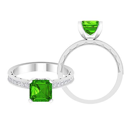 7 MM Asscher Cut Lab Created Tsavorite Ring, D-VSSI Moissanite Princess Cut Ring, Solitaire Ring with Side Stones, Milgrain Gold Ring (AAAA Quality), 18K White Gold, Size:UK F1/2