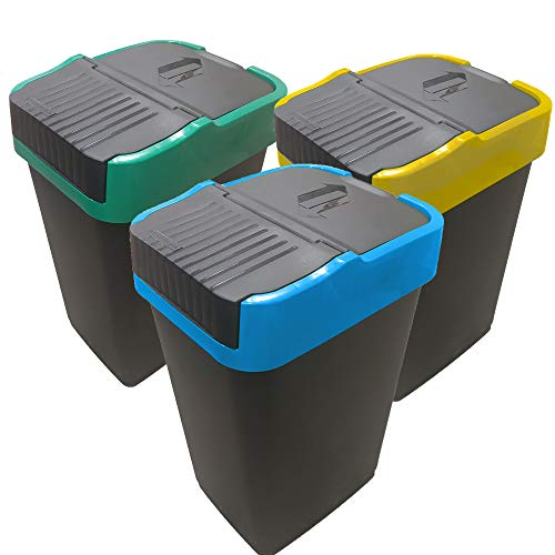 EUROXANTY Pack 3 papeleras de Reciclaje | Papelera Reciclaje Colores | Tapa basculante | PVC rígido | Diseño Rectangular | (60L)