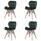 4 sillas de comedor retro de piel sintética, acolchadas con patchwork, de madera natural, para oficina, silla de ocio, silla de comedor, silla de negociación (Dark Green)