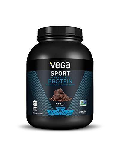 Vega Sport Premium Protein Powder, Mocha, Vegan, 30g Plant Based Protein, 5g BCAAs, Low Carb, Keto, Dairy Free, Gluten Free, Non GMO, Pea Protein for Women and Men, 4.2 Pounds (45 Servings)